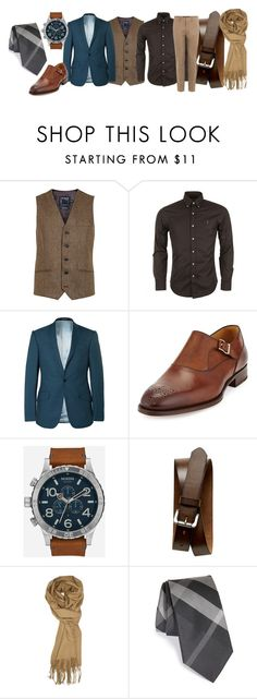 """BUSINESS CASUAL"" by nothingexcept on Polyvore featuring Topman, Polo Ralph Lauren, Richard James, Magnanni, Nixon, Banana Republic, Burberry, Valentino, men's fashion and menswear"