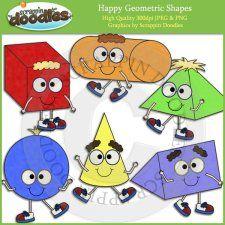 Happy Geometric Shapes Clip Art