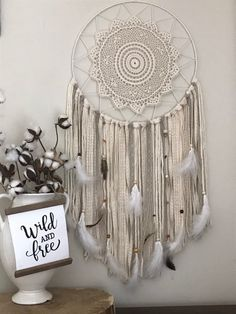 Large Dream Catcher Ivory Dream Catcher Boho Bedroom Decor   Etsy