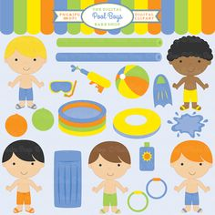 Pool Boys Clipart - adorable clipart for pool party invitations, scrapbooking, card making and more.