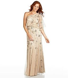 Adrianna Papell Beaded One-Shoulder Gown | Dillards.com