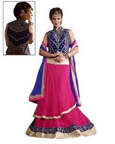 #Pink #and #Blue #Net #Embroidered #Exclusive #Lehenga
