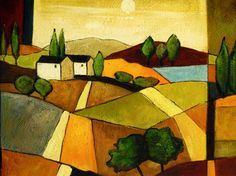 Cuadros abstractos, cuadros modernos con paisajes abstractos, II-Casa de labranza Collage Landscape, Landscape Quilts, Cool Paintings, Cool Artwork, Bright Colors Art, Paper Collage Art, Funky Art, Art Case, Abstract Nature