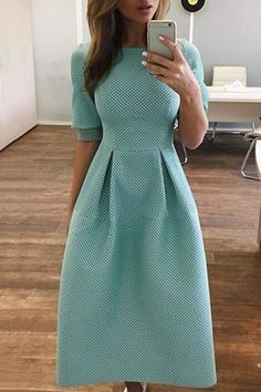 Round Neck Half Sleeve Midi Dress