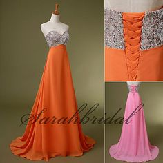 2014 New Orange Pink Long Evening Dresses Cheap Sale Sequins Prom Party Gowns