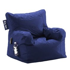 Great beanbag chair for a boy's room. Features a side pocket and drink holder.