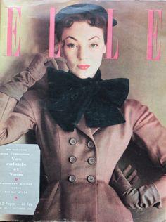 {VINTAGE} Voyage dans le temps avec ELLE #1951 Couverture ELLE magazine France 1951