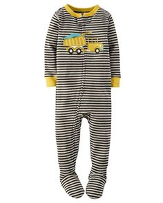 52a5b706c87f38 Carter s Boy s Size 4t Striped Dump Truck Cotton Footed Pajamas