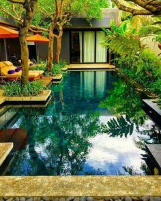 Fun Backyard Landscaping Idea How About An Exotic, Tropical Backyard Resort 72 - topzdesign . Natural Swimming Pools, Outdoor Swimming Pool, Natural Pools, Natural Garden, Patio Tropical, Design Exterior, Modern Exterior, Luxury Pools, Dream Pools