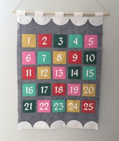 Modern Felt Advent Calendar Tutorial from Hugs are Fun Includes templates for numbers