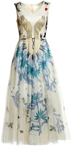 Embroidered-Hands Midi Dress