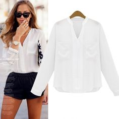 Cheap Fashion V Neck Long Sleeves Solid White Chiffon Blouses_Blouses&Shirts_Tops_Womens Clothing_LovelyWholesale | Wholesale Shoes,Wholesale Clothing, Cheap Clothes,Cheap Shoes Online. - LovelyWholesale.com