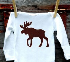 Moose Onesie - made to order sizes 3m, 6m, 9m, 12m, 18m, 24m - long or short sleeve