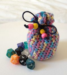Crochet Coin Purse Small Dice Bag Multicoloured by D20Dicebags, £5.00