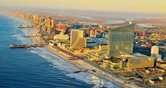 Visit Atlantic City, and play in the sand—or on the boardwalk—in the fun-loving Jersey Shore Atlantic City Casino, Atlantic City Restaurants, New Jersey Beaches, Girlfriends Getaway, Skyline, New York City Travel, Best Vacations, Vacation Places, Vacation Destinations