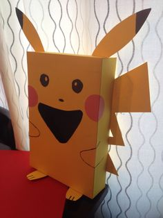 Pikachu valentine box. The valentines go in his mouth, of course!