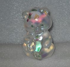 Fenton Bear #5151 Figurine in White Carnival Glass Signed with Orignal Label by VintageGlassGoddess on Etsy