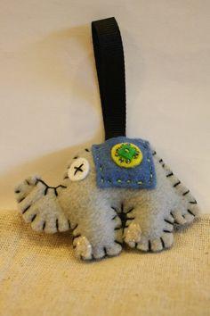 Felt bead elephant medium keychain by inajuicebox on Etsy, $5.00  www.inajuicebox.etsy.com