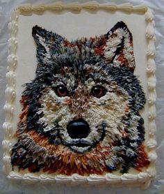 Wolf cake Wolf Cake, Amazing Cakes, Cake Decorating, Owl, Cookies, Bird, Baking, Animals, Crack Crackers