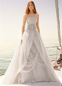 Organza Gown with Draped Bodice and Tulle Skirt | White by Vera Wang