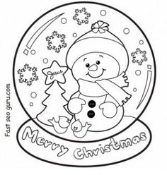 christmas snow globe whit snowman coloring pages - Printable Coloring Pages For Kids