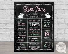 Some Bunny is Turning One, First Birthday Chalkboard Sign, PRINTABLE 1st Birthday Sign, 1st Birthday Poster, Chalkboard Poster, DIGITAL FILE