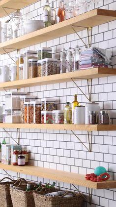 Wall Mounted Kitchen Shelves, Diy Kitchen Shelves, Kitchen Cupboard Designs, Kitchen Organization, Industrial Shelving Kitchen, Kitchen Walls, Modern Farmhouse Kitchens, Farmhouse Kitchen Decor, Home Decor Kitchen