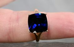 Vintage Gold Ring Deep Blue Synthetic by DanPickedMinerals on Etsy