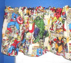 Marvel Comics The Avengers Iron Man Hulk Thor Captain America Valance Curtain. $19.99, via Etsy.
