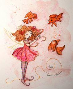 illustration à l'aquarelle de la fée aux poissons Ptit blog d'une illustratrice jeunesse Laure Phelipon