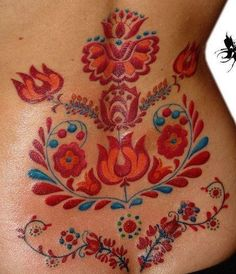 kalocsai - hungarian folk pattern tattoo - love the colors! Pretty Tattoos, Love Tattoos, Beautiful Tattoos, Body Art Tattoos, Tattoos For Guys, Tatoos, Tattoo Art, Tattoo Pics, Mehndi Tattoo