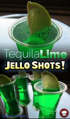 TEQUILA LIME JELLO SHOTS - Lime Jello, Silver Tequila, salt, lime - Delicious for any party or gathering! Use a decent silver or clear tequila for this! Tequila Jello Shots, Jello Shots Recept, Lime Jello Shots, Summer Jello Shots, Alcohol Jello Shots, Jello Pudding Shots, Jello Shot Recipes, Party Drinks Alcohol, Drinks Alcohol Recipes