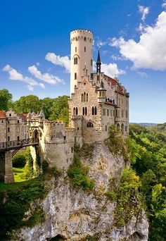 Lichtenstein Castle (Schloss Lichtenstein) is a Gothic Revival castle built in the 1840s. It is situated on a cliff located near Honau on the Swabian Alb, Baden-Württemberg, Germany. A small fortress Lichtenstein standing on the rock which supports it and surrounding by ditches and numerous underground paths – the only ways for the fortress' inhabitants…