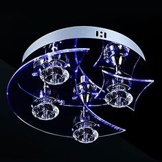 Crystal LED Flush Mount,3 Light, Artistic Stainless Steel Acrylic Carving - USD $ 149.99
