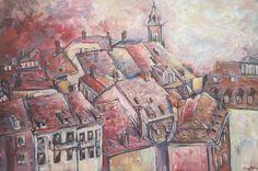 Sleepy roofs/ painting, acrylic on canvas