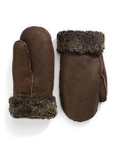 Shearling Mittens - Light Brown Leather | Hudson's Bay