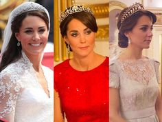 The Halo Tiara, The Lotus Flower Tiara, and The Cambridge Lover's Knot Tiara