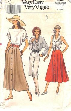 Straight, slightly flared or flared skirt, below mid-knee, below mid-calf, or above ankle, has waistband. A, B: pleats. B, C: pockets Our PRE-OWNED patterns are all UNCUT (unless specifically stated)