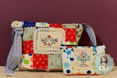Patchwork quilted handmade embroidery messenger by MainileMamei