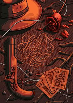 Digital art selected for the Daily Inspiration #1655 The shape of my heart, gun and rose in red vector.