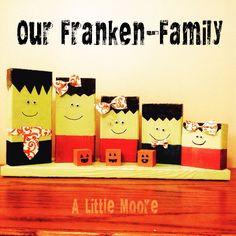 Frankenfamily wood block Halloween craft