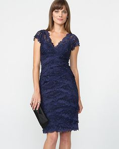 Le Château: Floral Beaded Tiered Lace Dress