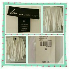 NWT Woman's Button Down Shirt Size 26W  Brand New With Tags Woman's White Button Down Shirt From Lane Bryant Size Is 26W. This Is Perfect To Dress Up Or Down Great For Spring & Summer. Excellent Condition Retails For $39.95 + S&H + Taxes  TRADES  PAYPAL  NO OFFERS FINAL MARKDOWN  Lane Bryant Tops Button Down Shirts