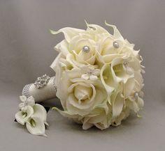 Silk Flower Bridal Bouquet Stephanotis Real by SongsFromTheGarden, $195.00