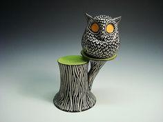 owl in a tree salt and pepper shaker design