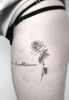 Delicate Black and Grey Ink Rose Tattoo by Jakub Nowicz