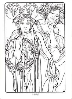 alphonse mucha adult coloring pages art nouveau art deco drawing ideas dresses girly porcelain coloring