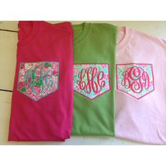 Short Sleeve Monogrammed Pocket Tee - Lilly Pulitzer Fabric ($28) ❤ liked on Polyvore featuring tops, t-shirts, pocket tee, short sleeve pocket t shirts, short sleeve pocket tee, monogram pocket tee and lilly pulitzer