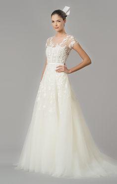 Vestido de novia corte evasé con bordados...¡toda una preciosidad!