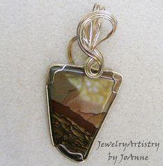 Royal Sahara Pendant  2sided Jasper in Gold by by JewelryArtistry, $65.00
